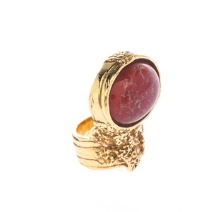 Saint Laurent Saint Laurent Arty Red Glass Cabochon Gold Tone Ring Size 54.5