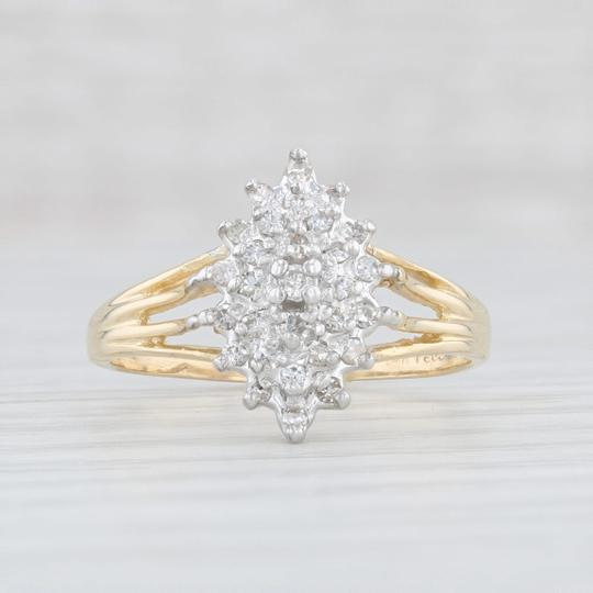Other .19ctw Diamond Cluster Ring - 14k Size 7.75 Women's Vintage Image 1