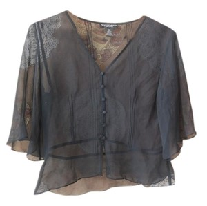 Spencer Jeremy Chiffon Sheer Chiffon Silk Summer Womens Top black