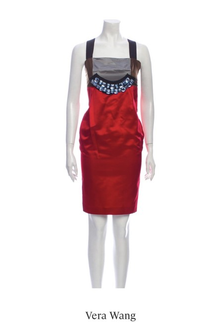 Item - Red Brown Grey Mid-length Night Out Dress Size 14 (L)