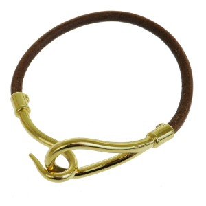 Hermès HERMES Logo Jumbo Hook Bracelet Bangle Leather Brown Gold Accessory