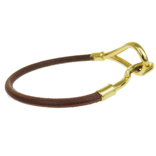 Hermès HERMES Logo Jumbo Hook Bracelet Bangle Leather Brown Gold Accessory Image 1