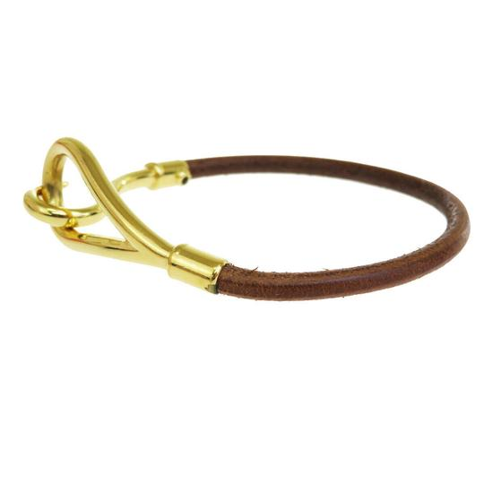 Hermès HERMES Logo Jumbo Hook Bracelet Bangle Leather Brown Gold Accessory Image 3