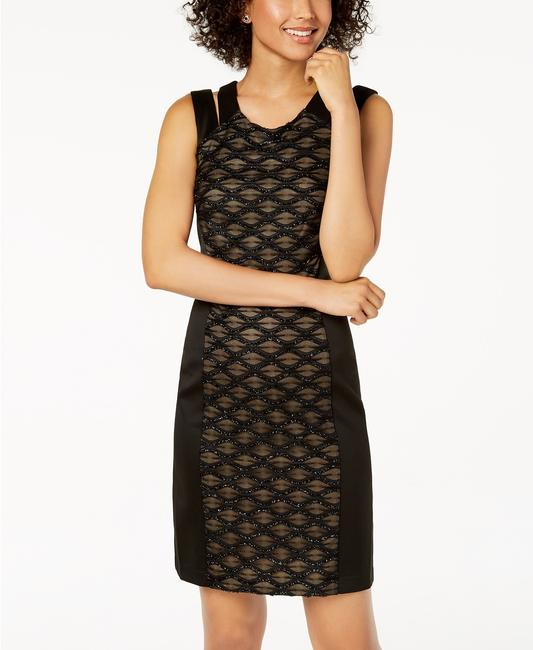Connected Apparel Glitter Cut Out Illusion Pannel Dress Image 1