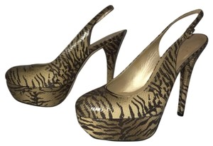 Stuart Weitzman Animal Ankle Strap Stiletto Tiger Print - Brown and Beige Platforms