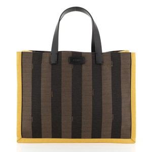 Fendi Pequin Tote in black, brown and yellow