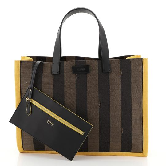Fendi Pequin Tote in black, brown and yellow Image 1
