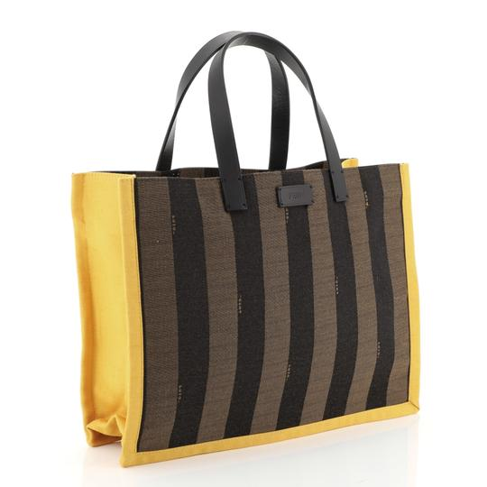 Fendi Pequin Tote in black, brown and yellow Image 2