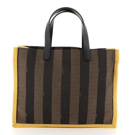 Fendi Pequin Tote in black, brown and yellow Image 3