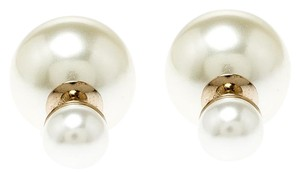 Dior Dior Tribales Cream Faux Pearl Gold Tone Stud Earrings