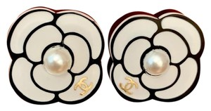Chanel Chanel White Camellia Coco Flower Pierced Studs Earrings