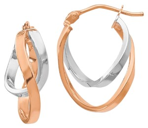 Apples of Gold 14K ROSE AND WHITE GOLD OVAL TWIST HOOP EARRINGS