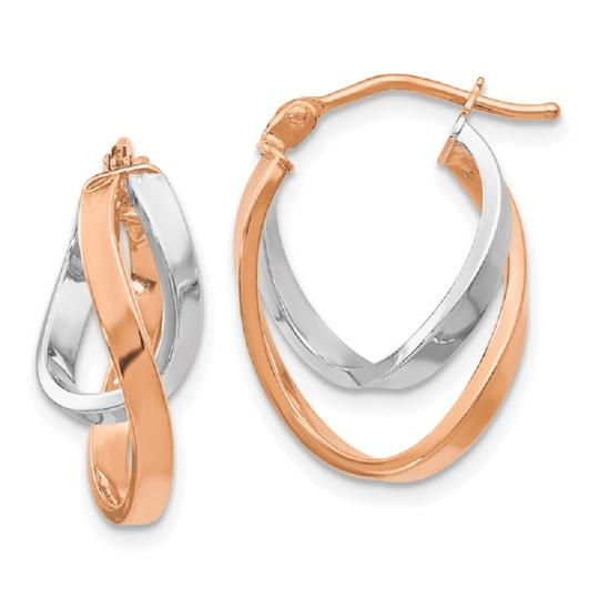 Apples of Gold 14K ROSE AND WHITE GOLD OVAL TWIST HOOP EARRINGS Image 2