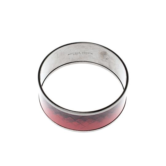 Bottega Veneta Bottega Veneta Red Enamel Gunmetal Tone Wide Bangle Bracelet M Image 2