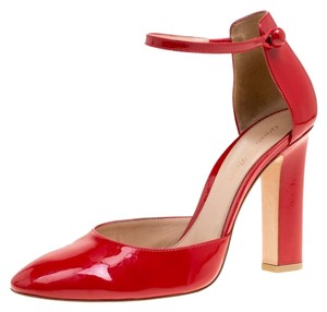 Gianvito Rossi Patent Leather Ankle Strap Red Pumps