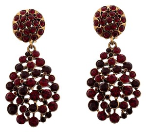 Oscar de la Renta Oscar de la Renta Red Crystal Gold Tone Clip-on Drop Earrings
