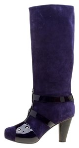 Versace Suede Patent Leather Purple Boots