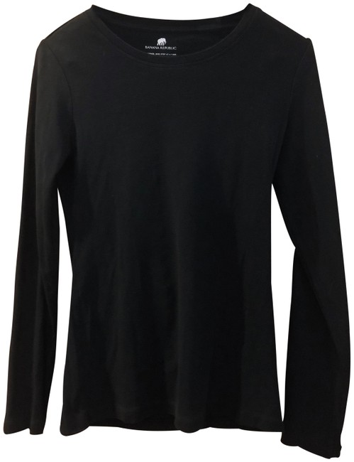 Item - Black Women's Crew Neck Long Sleeve Shirt Tunic Size 4 (S)