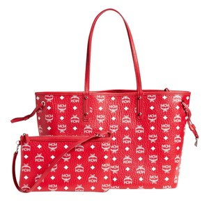 MCM Tote in Red And White