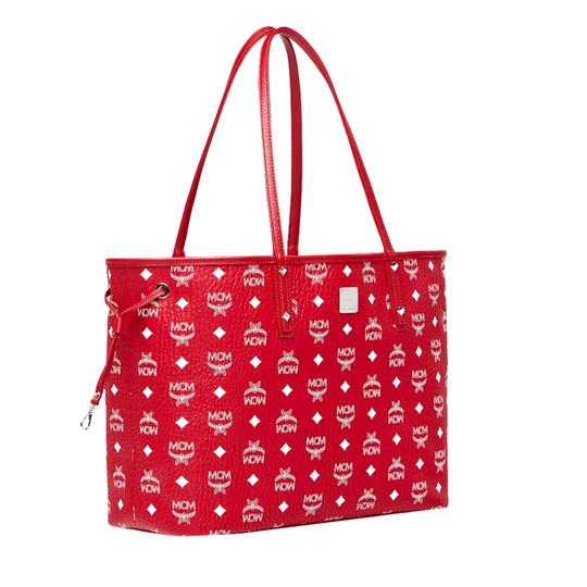 MCM Tote in Red And White Image 3