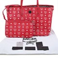 MCM Tote in Red And White Image 6