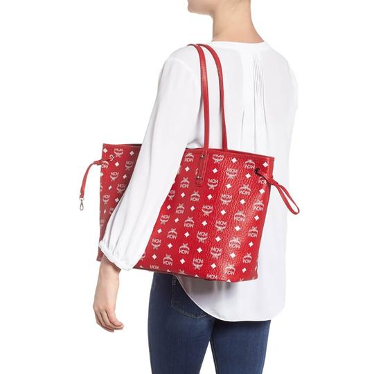 MCM Tote in Red And White Image 8