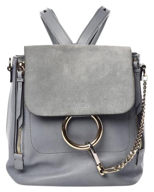 Item - Faye Suede Calfskin Small Cloudy Blue Leather Backpack
