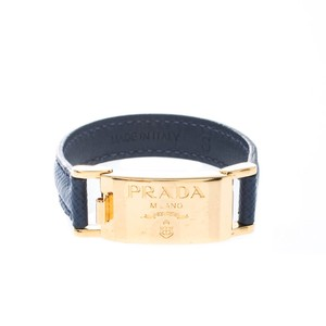 Prada Prada Navy Blue Leather Gold Tone Bracelet