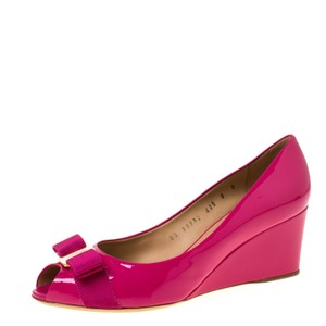 Salvatore Ferragamo Patent Leather Peep Toe Wedge Pink Pumps