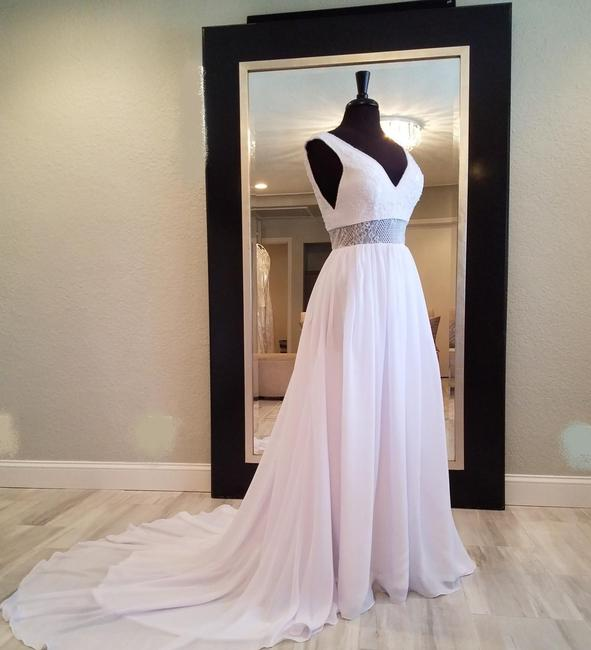 Frontroom Couture White Chiffon Hannahlin | Deep V Front and Back Beaded Neckline Lace Appliques Waist Formal Wedding Dress Size 4 (S) Frontroom Couture White Chiffon Hannahlin | Deep V Front and Back Beaded Neckline Lace Appliques Waist Formal Wedding Dress Size 4 (S) Image 1