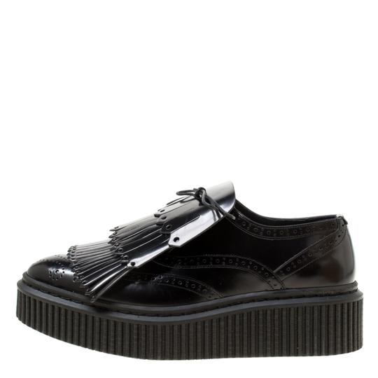 Burberry Leather Rubber Black Flats Image 4