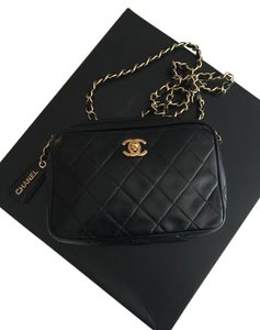 Chanel Vintage Leather Gold Cross Body Bag