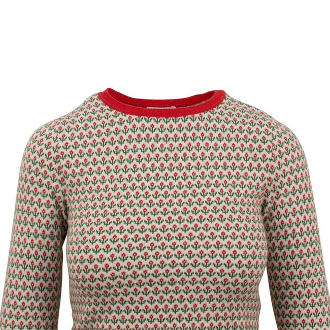 RED Valentino Wool Knit Longsleeve Viscose Floral Sweater Image 3