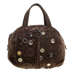 Marni Suede Embellished Satchel in Brown