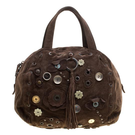 Marni Suede Embellished Satchel in Brown Image 0