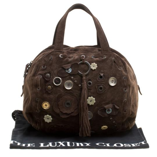 Marni Suede Embellished Satchel in Brown Image 10