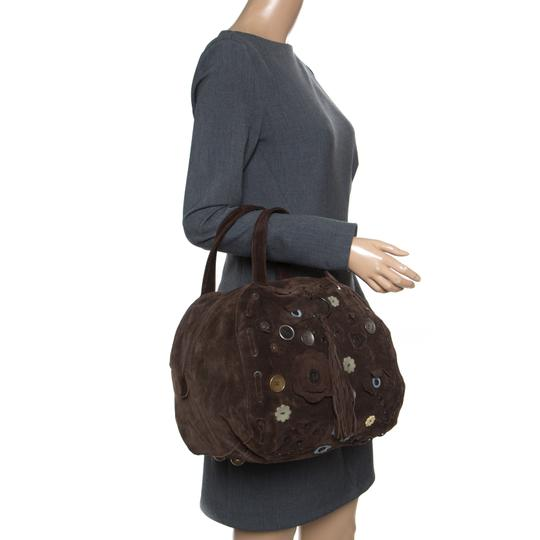 Marni Suede Embellished Satchel in Brown Image 2