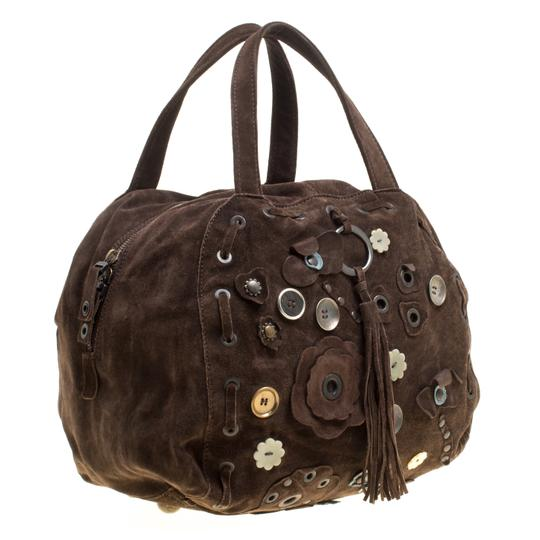 Marni Suede Embellished Satchel in Brown Image 3