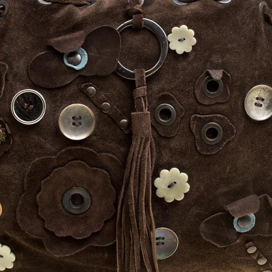 Marni Suede Embellished Satchel in Brown Image 5