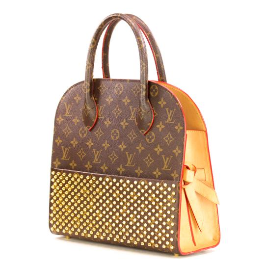 Louis Vuitton Monogram Iconoclast Christian Louboutin Tote in Brown/Red Image 1