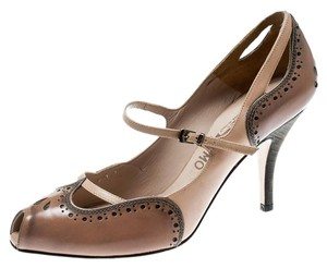 Salvatore Ferragamo Leather Peep Toe Mary Jane Beige Pumps