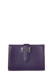 Hermès HERMES Purple Bearn Epsom Card Holder