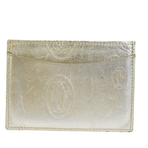 Cartier Authentic Cartier 2C Happy Birthday Bifold Pass Card Case Leather Gold