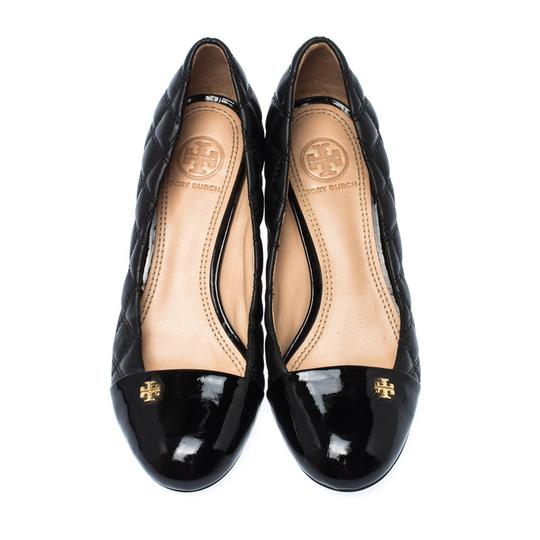 Tory Burch Leather Wedge Black Pumps Image 1