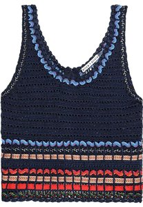 Alice + Olivia And Knit Embroidered Embroidered Top Navy multicolored