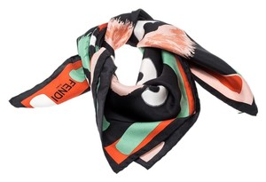 Fendi Fendi Multicolor Abstract Pom Pom Printed Silk Square Scarf