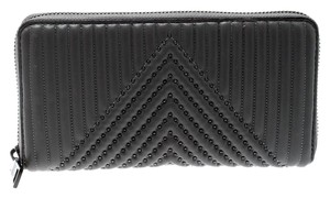Coach Grey Quilted Leather Rivets Zip Around Wallet