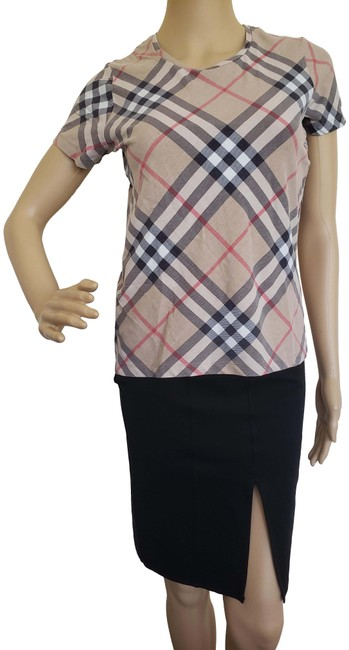 Item - Brown Beige Exploded Check Plaid Sleeve Tee Shirt Size 8 (M)