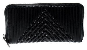 Coach Black Quilted Leather Rivets Zip Around Wallet