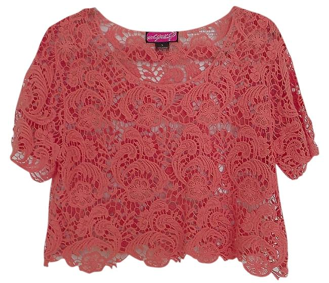 Item - Crochet Lace Crop Coral Top